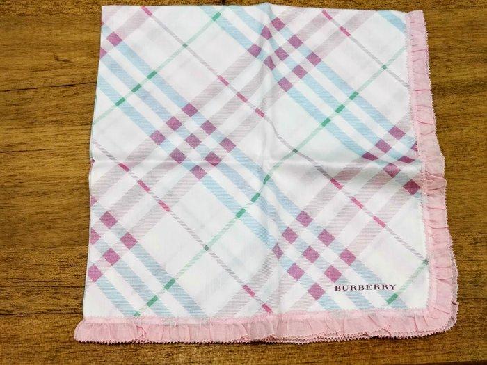 【姐只賣真貨】BURBERRY 格紋滾邊時尚仕女領巾手帕 (粉紅色)情人節首選禮物