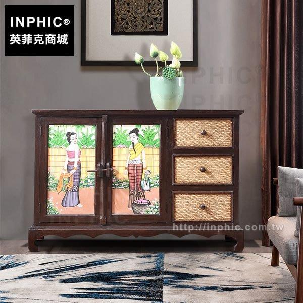 INPHIC-傢俱東南亞客廳會所泰式門廳櫃彩繪竹編木玄關櫃_FMG3