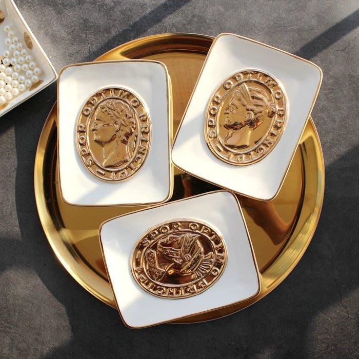 MAJ.POINT-盤碟 北歐風 點心 飾品 收納 肥皂碟 奢華  居家 INS 現代簡約 代購 復古 金邊屬色 道具