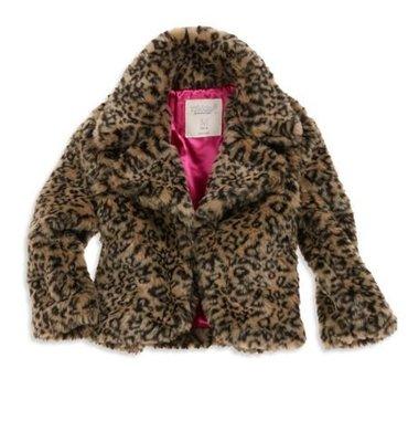 (((二手特價))) 美國 AMERICAN EAGLE 77kids 豹紋絨毛桃紅緞面裡襯披肩外套 (XL14)