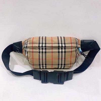 二手 二手正品 Burberry博柏利 Vintage 米色 格紋 中號 腰包 胸包 斜挎包 男女同款