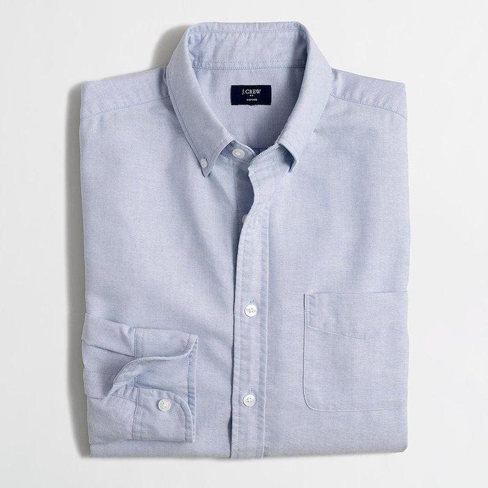 美國百分百【全新真品】J-Crew 牛津 襯衫 JC 長袖 上衣 素面 雅痞 上班休閒 淺藍色 XS M L號 H031