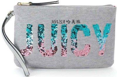 哈美族 美國 Juicy Couture 布料搭亮片JUICY 手腕包/手拿包 附正本購證
