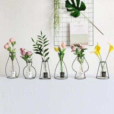 極簡北歐風 ins鐵藝花瓶 簡約創意 擺件 裝飾拍攝道具仿真花 WD    全館免運