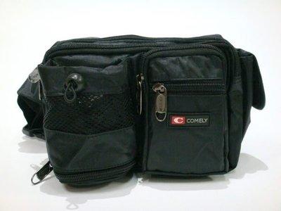 【菲歐娜】5570-(特價拍品)COMELY多夾層功能前有水壺袋腰包(黑)218