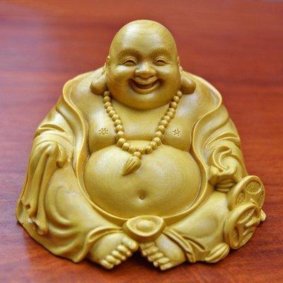【睿智精品】黃楊木 神像 佛像 招財彌勒佛木雕 大肚佛 笑佛(GA-4835)