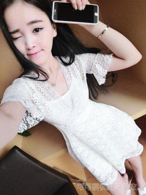 涼感2018夏季韓版時尚女裝性感低胸V領顯瘦短袖蕾絲A字連身裙