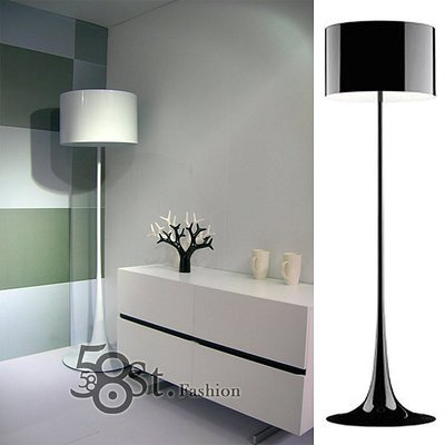 【58街-高雄館】義大利設計師款式「Spun F鋁罩落地燈,鋼烤」。複刻版。GU-057