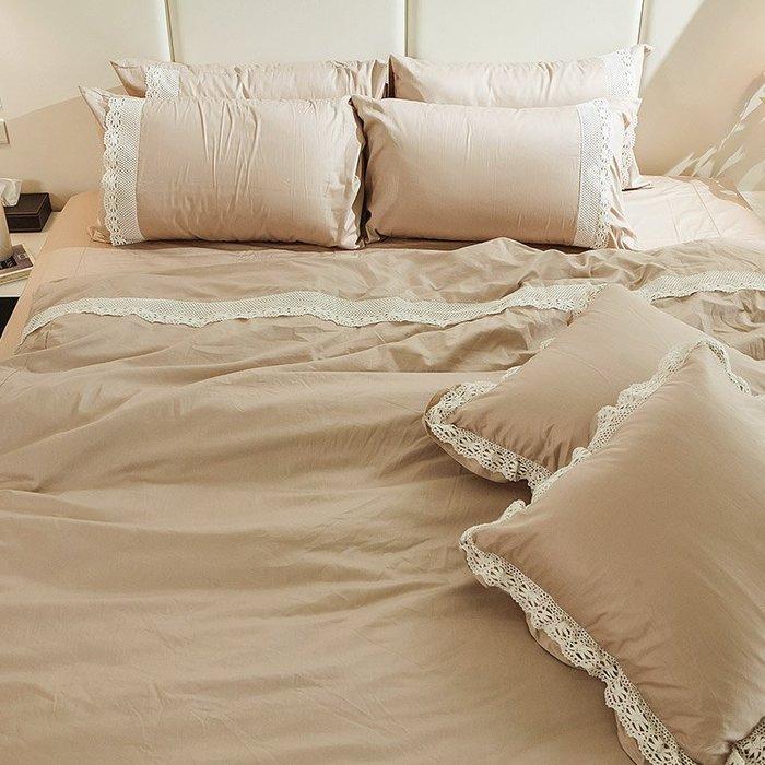 床包被套組 / 雙人【在巴黎遇見-巧克布蕾】含兩件枕套,100%精梳棉,獨家布蕾絲,戀家小舖