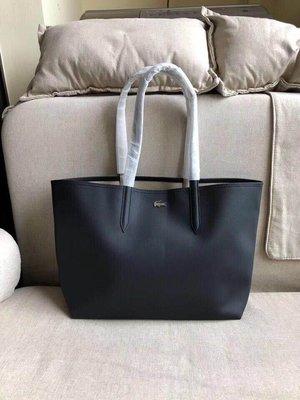 ╭☆包媽子店☆LACOSTE 黑色&深藍色雙面可用單肩包/購物袋 ((容量超大))~子母包~
