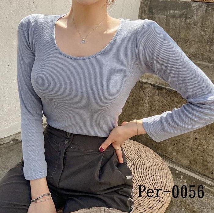 正韓(韓國空運回台) 2020秋季新款 - 立體抗條親膚素色上衣