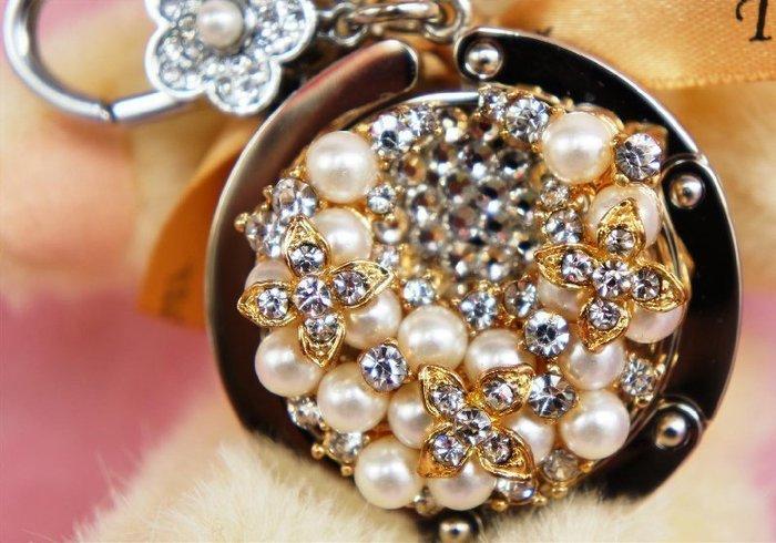 ☆BagHander品牌館☆潮流新品--櫻花珍珠(白鑽) 立體時尚包包掛鉤 華麗時尚設計版