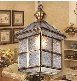 {美學}歐式吊燈全銅餐廳燈過道走廊吊燈銅燈陽臺復古玻璃吊燈MX-2130