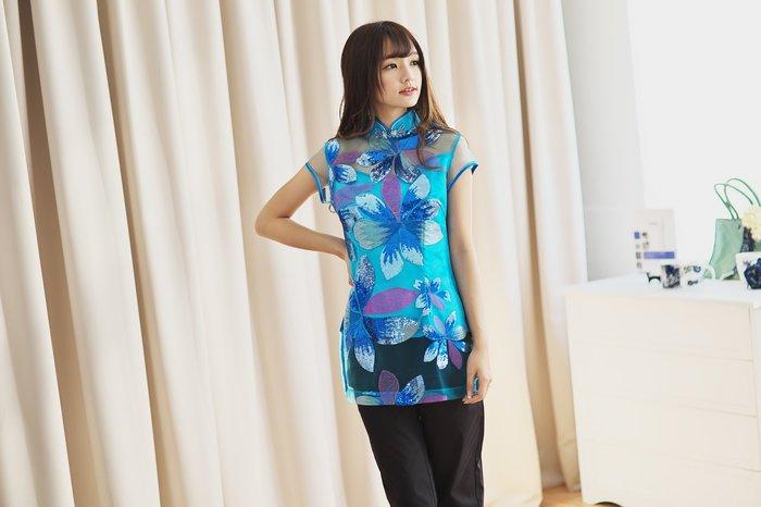 !!!((中國藍Anewei))藍色百合花開絲質旗袍上衣/唐裝~MLXL~另有粉.黃
