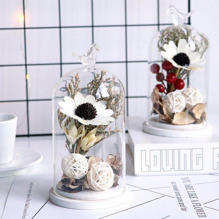 假花瓶 假花 仿真花 花器 花盆 玻璃 年花永生花干花玻璃罩工藝品創意家居客廳裝飾品擺設新年生日結婚禮物
