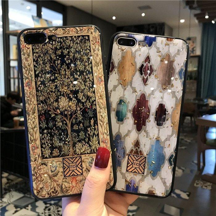 手機殼 金箔幾何圖大理石紋適用iPhonexs max手機殼蘋果XR滴膠8plus