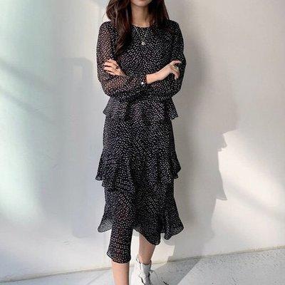 長袖洋裝 圓點收腰漸層蛋糕裙 艾爾莎 【TGK7844】