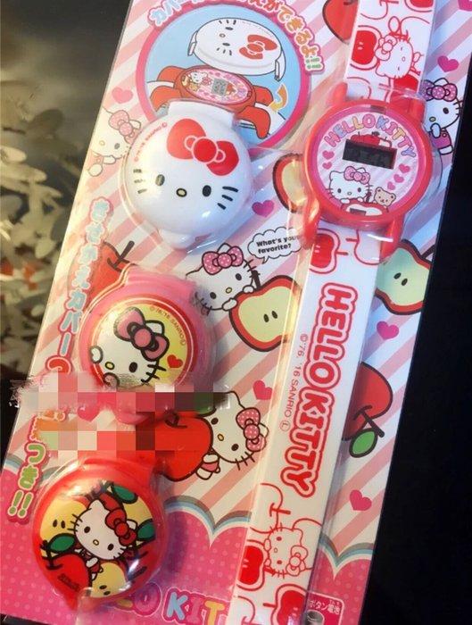 日本HELLO KITTY可換蓋兒童電子手錶童錶兒童錶(漾媽咪嬰幼兒用品)兒童節禮物生日禮物童錶多款蓋子圖案換蓋式手錶