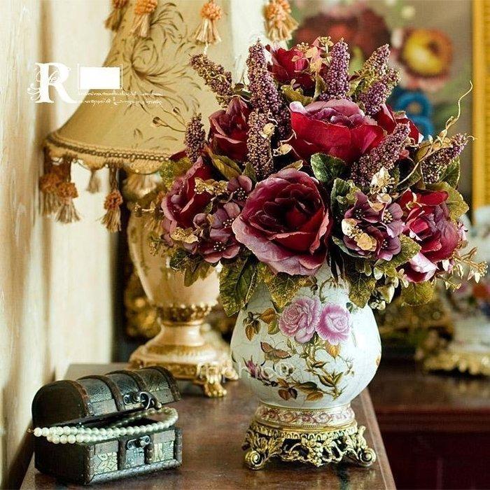 INPHIC-歐式宮廷奢華古典裂紋陶瓷電鍍仿真花套裝花藝