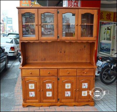 西班牙鄉村風 實木瓷磚玻璃五尺展示櫃餐...