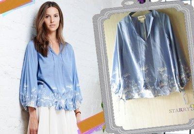 ☆SALE換季折扣☆ PEPIN Sylvie Peasant Blouse蒲公英圖案天藍色罩衫上衣joie ganni