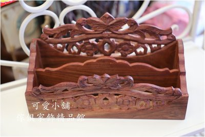 ( 台中 可愛小舖 )古典優雅風二格收納盒雕花造型木製二格盒筆筒收納盒房間擺飾書房擺飾廟宇佈置商店擺放餐廳擺放