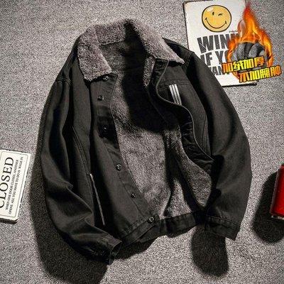 牛仔外套 秋冬季加絨加厚翻領牛仔夾克男加肥加大碼韓版新品修身潮牛仔衣胖外套 免運 型男小鋪