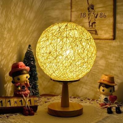 臥室床頭個性調光小夜燈歐式學生小台燈藤球創意浪漫歐式喂奶台燈YS