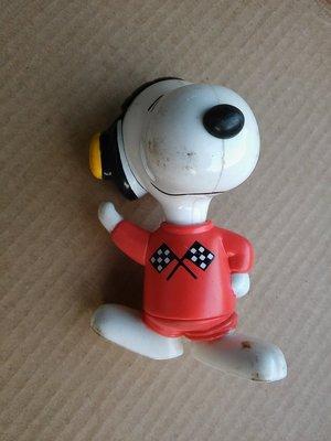 Snoopy史努比穿1991 Macau F1衣服硬質塑膠玩偶/外觀表面有摩擦使用痕跡/高約7公分