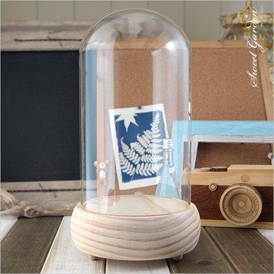 Sweet Garden, 12*高22cm玻璃罩+實木音樂盒底座(可選曲) DIY永生花 陶紙藝設計 公仔模型防塵展示
