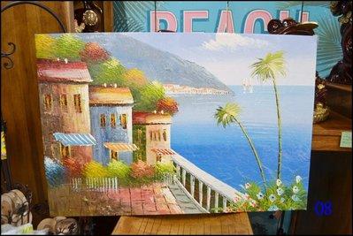 地中海風 手工油畫60*90公分 無框複製畫 海景小品海洋風掛飾椰樹帆船歐洲風景畫掛畫【歐舍傢居】