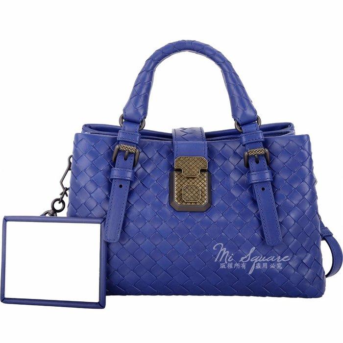 米蘭廣場 BOTTEGA VENETA Baby ROMA 小牛皮編織手提肩背包(靛藍色) 1830415-23