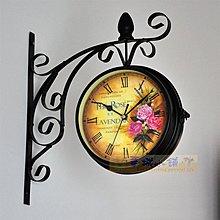 367 華城小鋪  時鐘/靜音/美式 鄉村 田園 掛鐘 歐式 掛鐘 懷舊玫瑰雙面鐘 限量特價