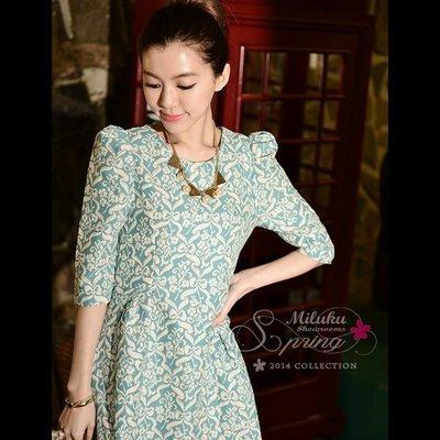 大降價~轉賣~miluku showroom~小穎~復古印花燙金藍綠色公主袖洋