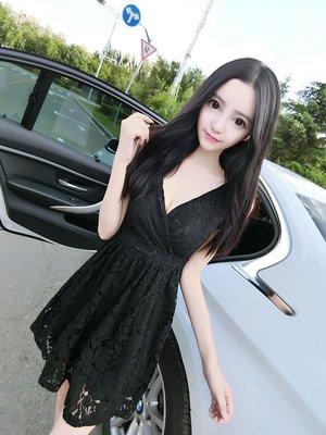 現貨黑M粉M.XL (S- XL) 性感 深V  蕾絲 修身 無袖 連衣裙 小禮服 洋裝 5873