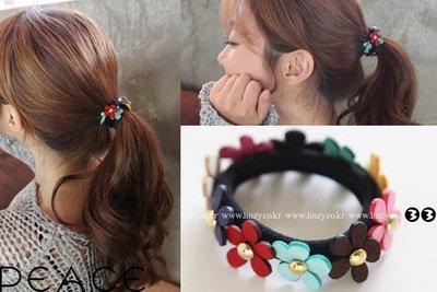 【PEACE33】正韓國空運進口。髮飾飾品 俏麗花園 彩色花朵髮繩/髮圈/髮束。現+預