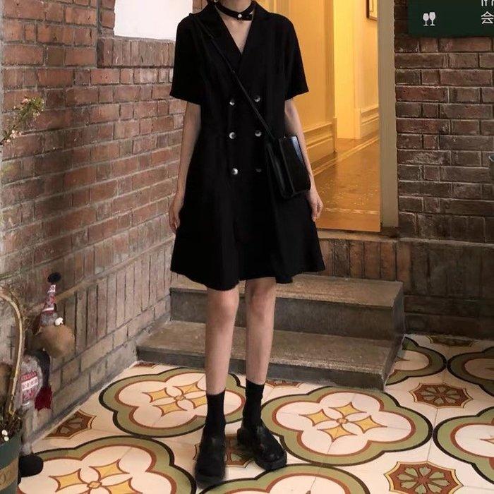 大碼女裝遮肚減齡夏裝胖mm連衣裙收腰顯瘦氣質小黑裙2020新款裙子