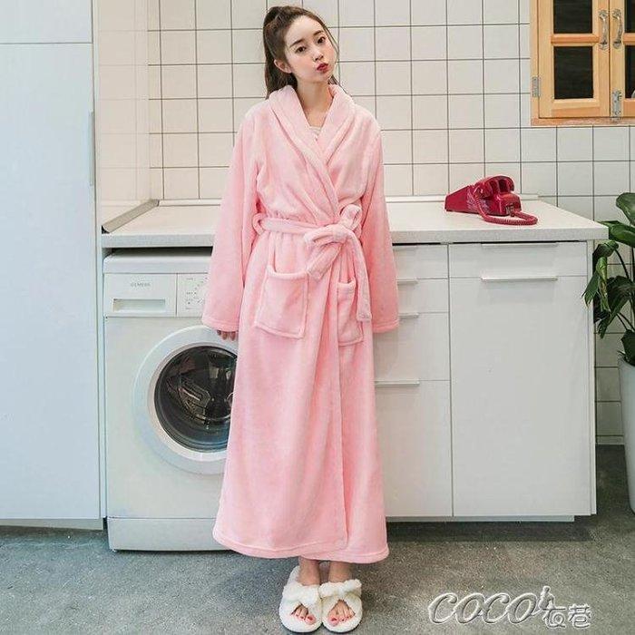 浴袍 棉籽殼加厚加長款情侶法蘭絨睡袍女秋冬季男士浴衣冬天珊瑚絨浴袍