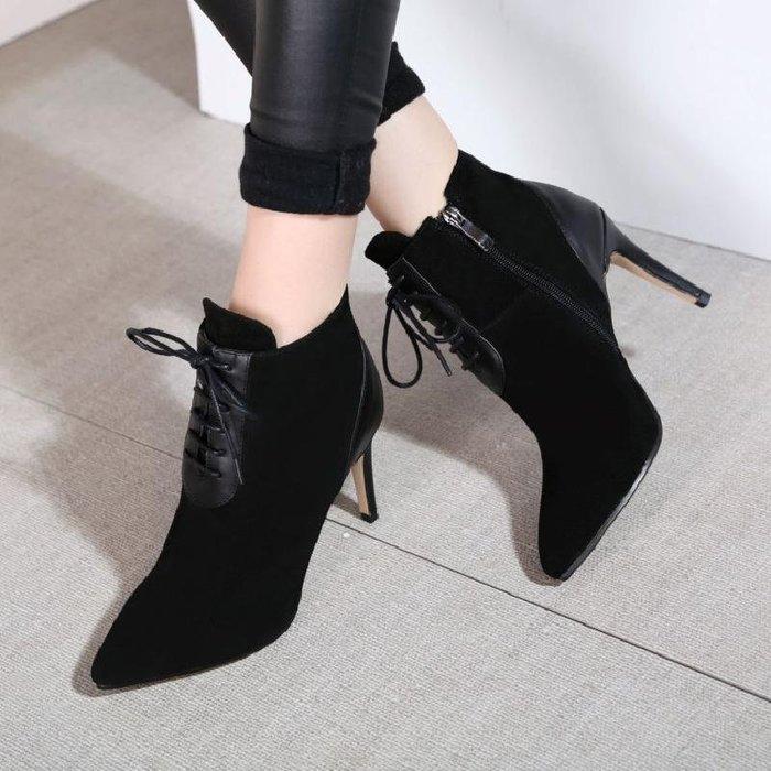 ~Linda~秋冬季新款短靴女黑色高跟鞋裸靴子真皮細跟尖頭女靴