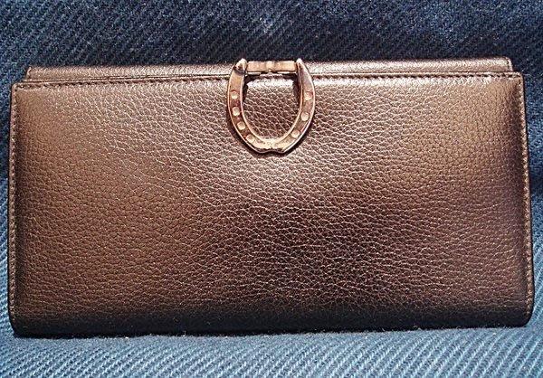 全新美國精品名牌 Ralph Lauren 荔枝紋黑色皮革設計款長夾,低價起標無底價!本商品免運費!