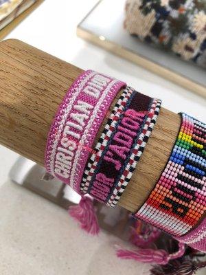 ~阿醬精品~巴黎直送Dior 春夏新色編織手環(粉➕黑兩條為一組)