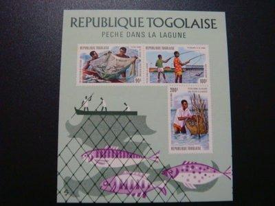 【大三元】非洲郵票-多哥-F56a各國魚類專題系列--新票小全張-原膠