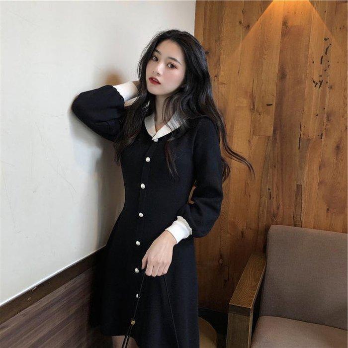【Elfalas】秋季新款高腰顯瘦針織連身裙裝