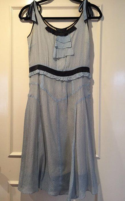Marc Jacobs 復古水波藍 綁帶魚尾洋裝