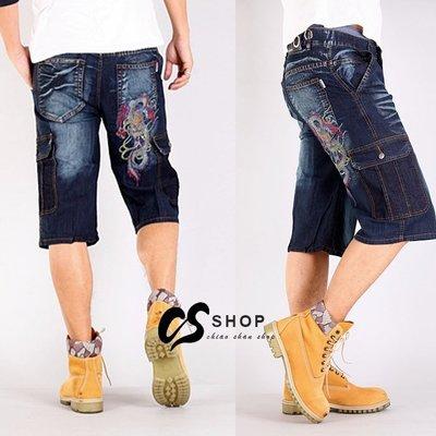 CS衣舖 造型刷色 立體刺繡 彈力丹寧 大口袋 牛仔六分褲 工作褲 短褲 58024