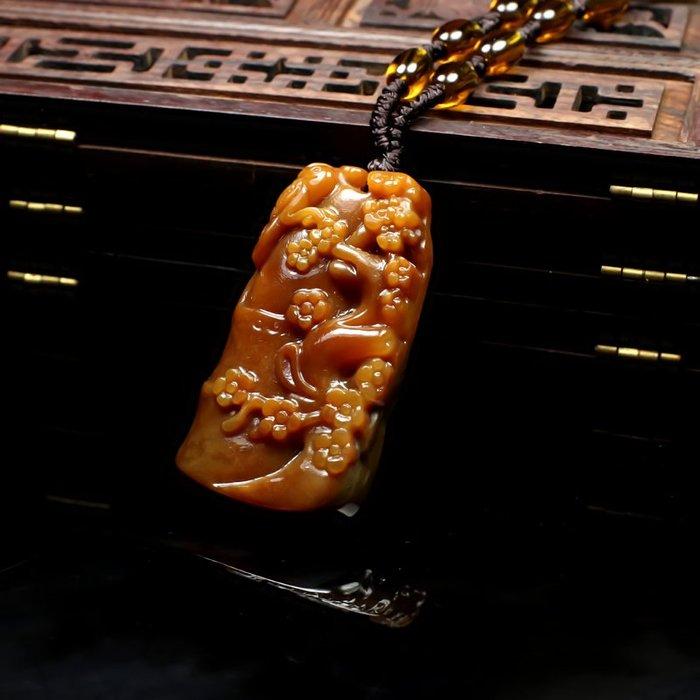 天然真品云南黃龍玉喜上眉梢玉吊墜玉石項鏈男女玉墜玉器玉掛件 玉器 首飾 白玉