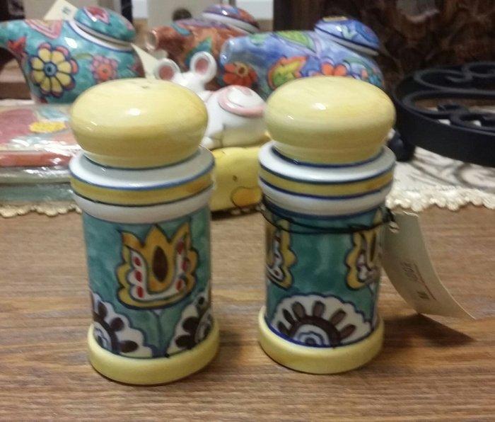 美生活館 印度進口 彩陶 椒鹽罐組 調味罐組 二入一組廚房用品 入宅送禮自用皆合宜