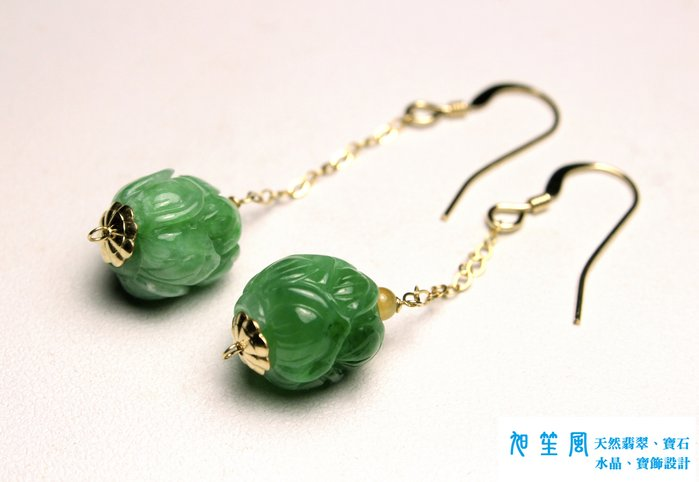 【旭笙風】天然緬甸A貨翡翠「K金設計耳環」