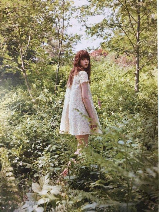 JILLSTUART(白標)─米色蕾絲氣質傘狀短袖洋裝SIZE:0號 可當小禮服
