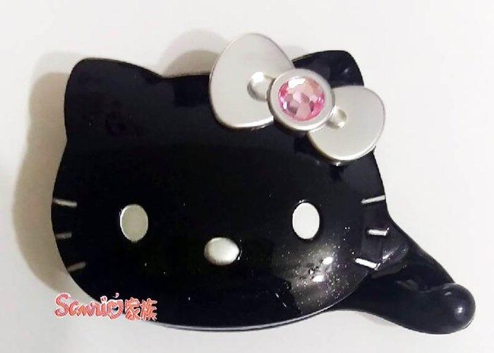《東京家族》台灣製 HELLO KITTY 造型黑色鑲鑽銀蝴蝶結髮夾髮飾相交夾 盒裝